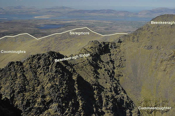 The exposed Beenkeeragh Ridge taken from Carrauntoohil. The Coomloughra Horseshoe also takes in the easier ground of Skregmore directly behind.
