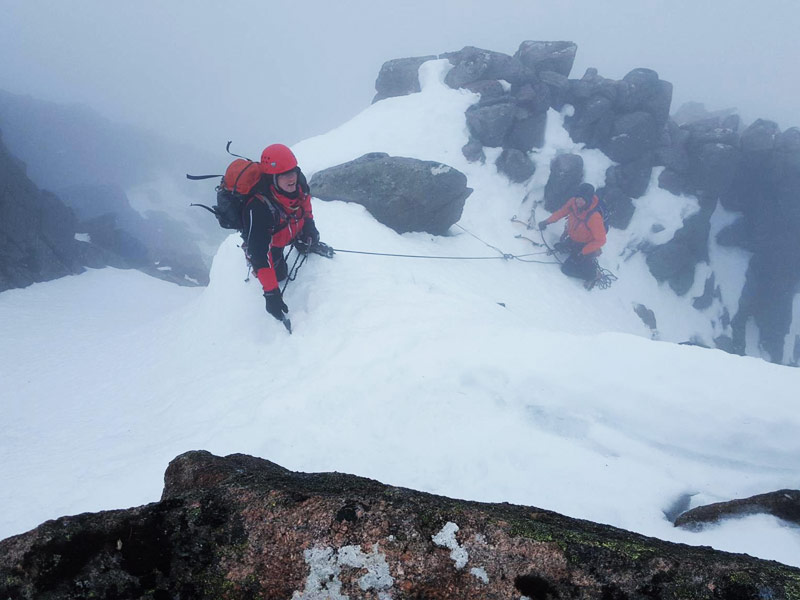 Alan Wallace & Colm Burke topping out on Spiral Gully