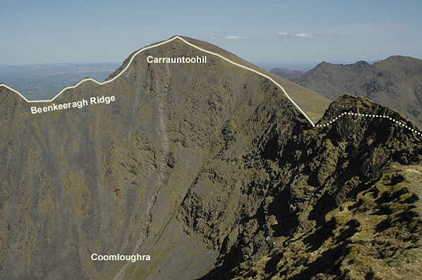 Carrauntoohil and the headwall of Coomloughra, from Caher. The suggested route follows the ridge on the right to Carrauntoohil and returns the same way. For more experienced parties the traverse of the Beenkeeragh ridge and the completion of the full Coomloughra Horseshoe is an option.