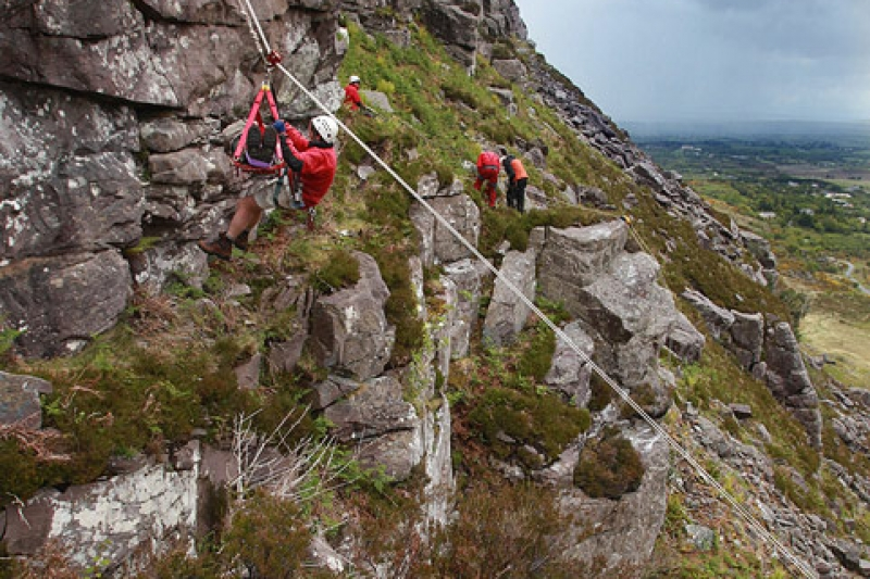 Stretcher lower using a cableway system.