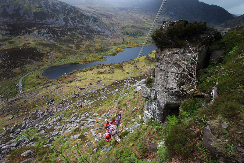 Stretcher lower using a cableway system in the Gap of Dunloe.