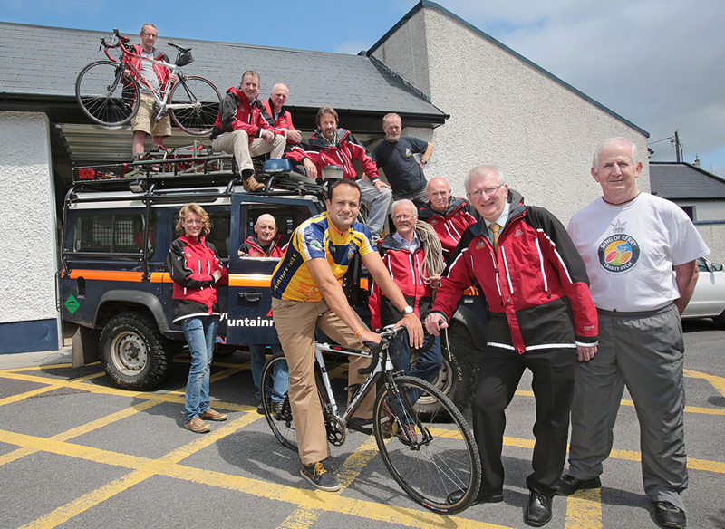 Members of Kerry mountain Rescue with Minister Leo Varadkar, launching their Ring of Kerry Cycle fundraising drive.