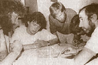 Con Moriarty, Mike Shea, Paul Walker, Pat Grandfield and Tim Long, planning part of the huge 1989 search for a missing climber.