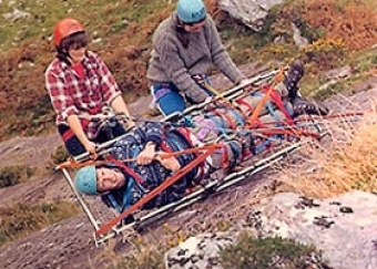 Mary McGillycuddy and Betty O'Farrell, with Kevin Tarrant in the Stretcher, c. early to mid 1980's.