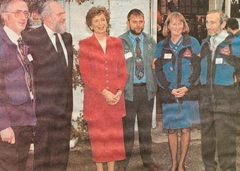 President Mary Robinson at Kate Kearney's Cottage, with Tim Murphy, her husband Nick, Donal MacNamara of IMRA, Eileen Daly and Tim Long. The event was the Irish Mountain Rescue Association's 30th anniversary celebrations in 1995.