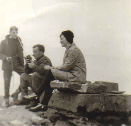 Pat Ahern, Willie Fitzgerald, Ann Ahern. Radio testing on Carrauntohill 6th October 1968.