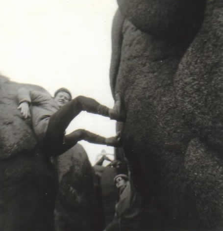 Eric and Johnny in chimney. Mournes, Easter 1969.