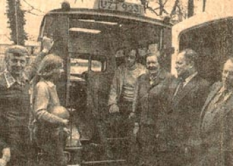 Presentation of the Team's first ambulance, c1979. The photo includes, from left to right, Sr. Columba (matron of Killarney Community Hospital), Peter Gill, Eileen Spillane and Pat Ahern (team members), Beatrice Grosvenor (Southern Health Board), Tom Cahill (Chairman of the County Council), Tadhg Kennedy (Southern Health Board), Danny Kissane (Member of the County Council).