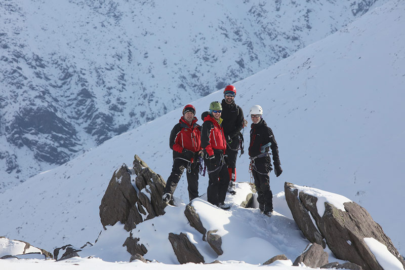 John Cronin, Keith Wharton, John Hussey and john Dowd during winter training in the Reeks.