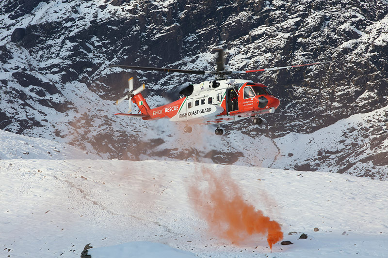 Rescue 117, the Waterford-based Irish Coastguard helicopter training in the Hag's Glen.