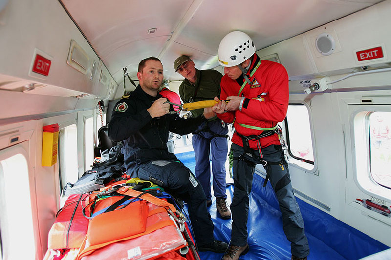 Tim Murphy and Sean Tangney training with Rescue 115, the Shannon based Coastguard helicopter.