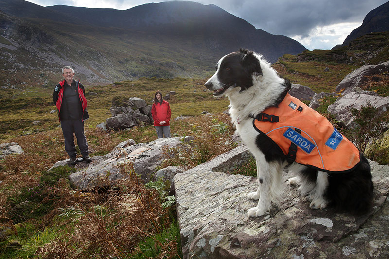 Always ready... SARDA search dog Lilly with her handler Catherine Kelly and SARDA training officer, Gerry Tobin.
