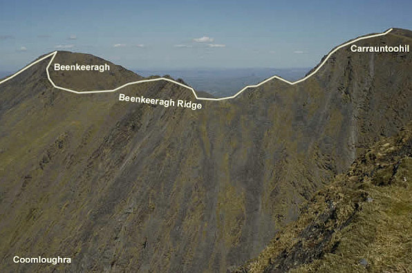The Beenkeeragh Ridge is an exposed traverse which can be dangerous in ice or strong winds, and is for experienced parties only.