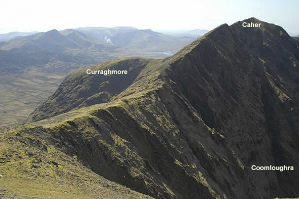 The Caher Ridge taken from the summit slope of Carrauntoohil. The suggested route follows the rim of the Coom.