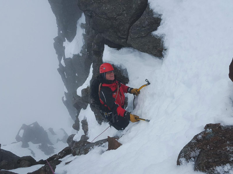 Aidan Forde near the top of Spiral Gully
