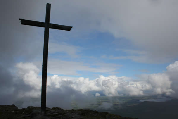 The summit cross of Carrauntoohil (photo courtesy Frank O'Connell)