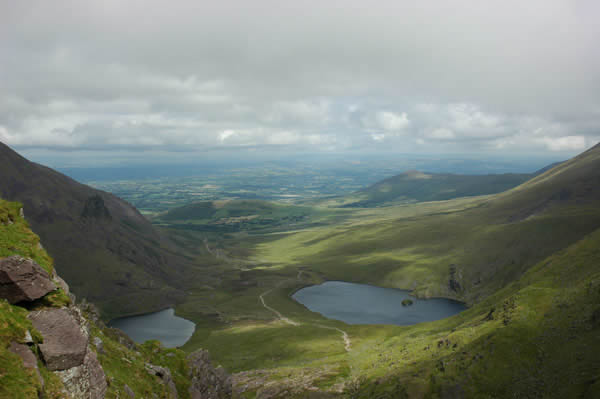 The view from the Devil's Ladder back down into the Hag's Glen showing Lough Gouragh and Lough Callee (photo courtesy David Manzor)