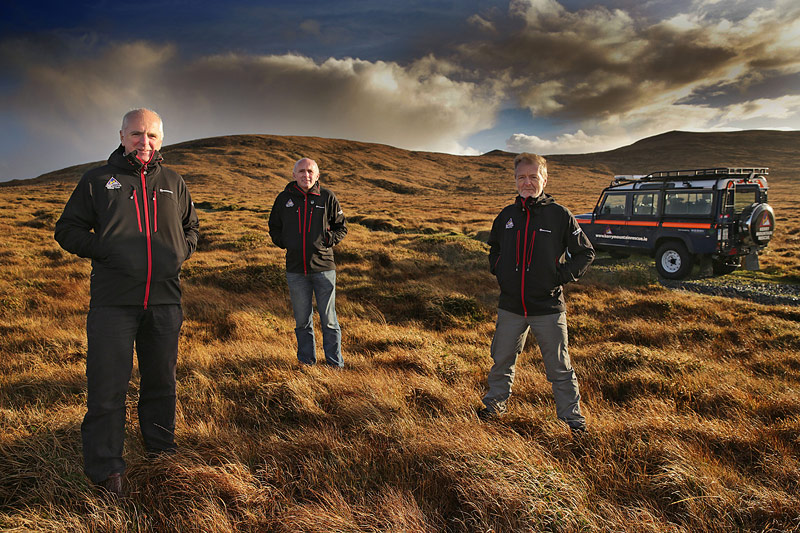 Jimmy Laide, Mick Long and Gerry Christie at the launch of the team's new Landrover Defender