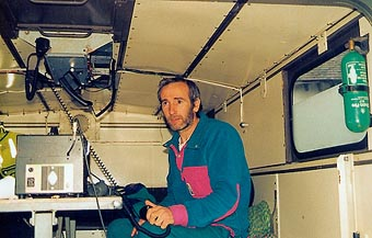 Tim Long in the Unimog, early 1990's.