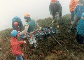 Stretcher training at Lamb's Head.