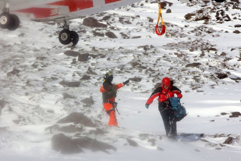 Margaret Griffin after being winched off Rescue 117 near the top of the Devil's Ladder.