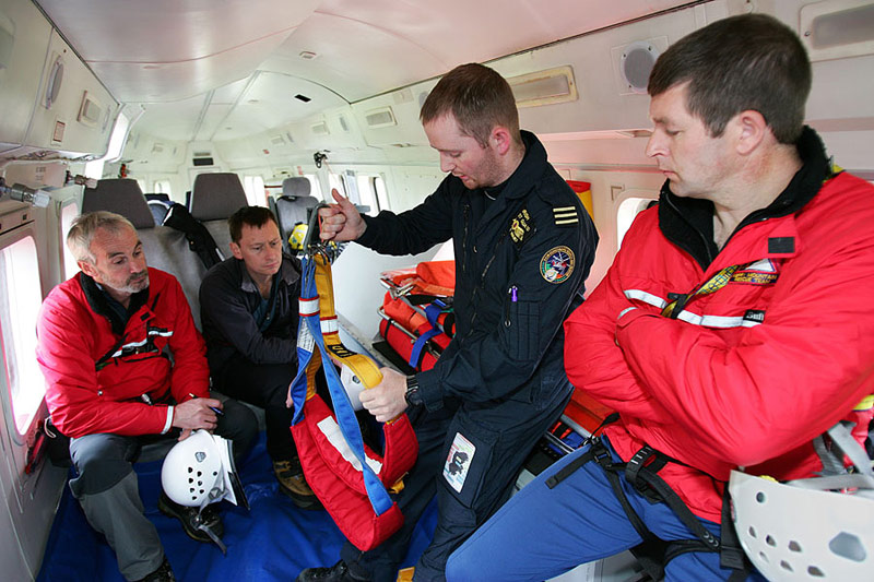 John Dowd, Pat Heffernan and John Cronin training with Rescue 115, the Shannon based Coastguard helicopter.